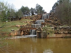 "The restored ""Falls"" of the Wichita River in Wichita Falls, Texas, off Interstate 44"