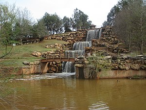 "Wichita River - The restored ""Falls"" of the Wichita River in Lucy Park, Wichita Falls, Texas, off Interstate 44."