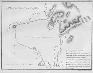 Rey, Iran - 1818 map by Robert Ker Porter