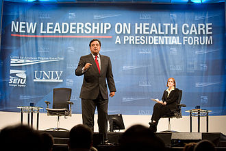 Bill Richardson 2008 presidential campaign - Bill Richardson at the University of Nevada, Las Vegas Presidential Health Care Forum, March 2007.