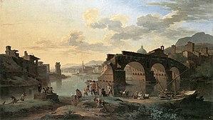 "Jacob de Heusch - ""River View with the Ponte Rotto"" by Jacob de Heusch, from 1696"