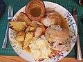 Roast Chicken with roast poatoes, parsnip, cauliflower cheese and yorkshire pudding & gravy (47953415811).jpg