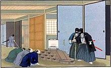 Rōnin robbing a merchant's house in Japan around 1860. [ 1 ]