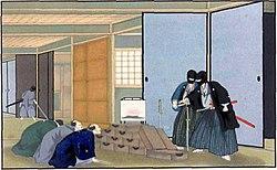 Một lũ ăn cướp (lãng nhân) gia đình của nhà buôn tại Nhật Bản, vào khoảng  1860