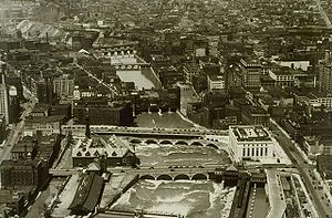 History of Rochester, New York - An aerial view of downtown Rochester from 1938