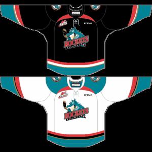 Kelowna Rockets - Current uniforms.
