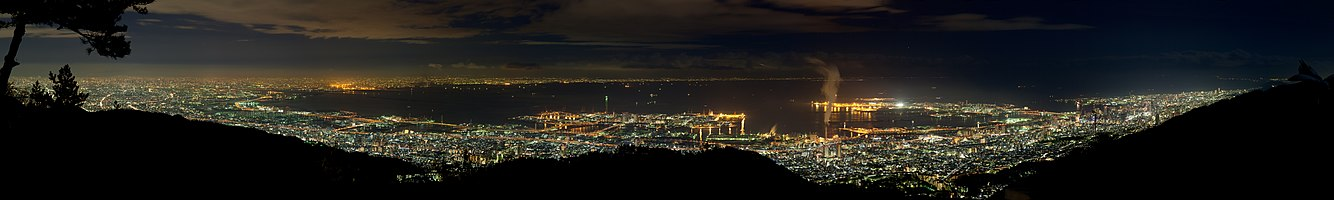 Panoramic Night View of Kansai urban area from Tenrandai Platform of Mt. Rokko. Stiched in Hugin from 14 frames resulting in 112 mpx image.