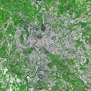 Satellite image of Rome, showing natural and built environment in the city