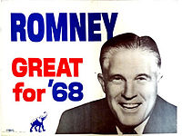 1968 campaign poster showing a smiling George Romney