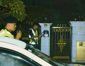 Security police - Police patrol personnel monitoring on the residence of VIP property. The police patrol mobile unit is a part of the C4-i Implementation System.
