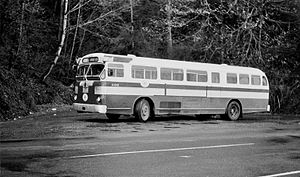 Rose City Transit - A 1948 Twin Coach bus of Rose City Transit laying over in Linnton in 1963