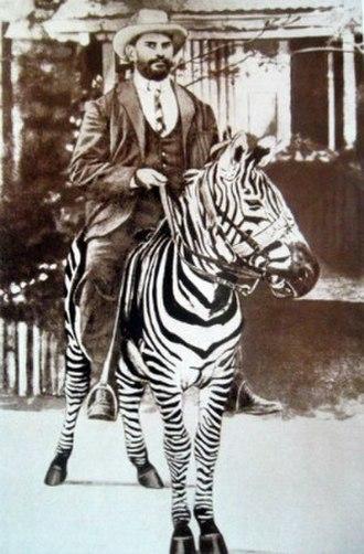Rosendo Ribeiro - Ribeiro riding his zebra
