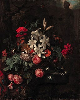 Roses, lilies, a poppy, morning glory and other flowers in a basket by Justus van Huysum.jpg