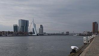 Erasmusbrug - Image: Rotterdam, de Erasmusbrug vanaf Boompjeskade IMG 1774 2018 03 18 09.51