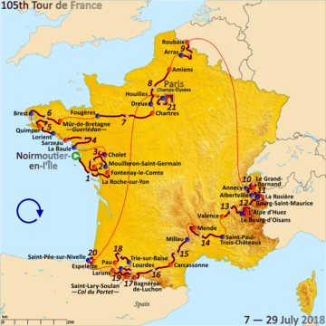 Route o the 2018 Tour de France