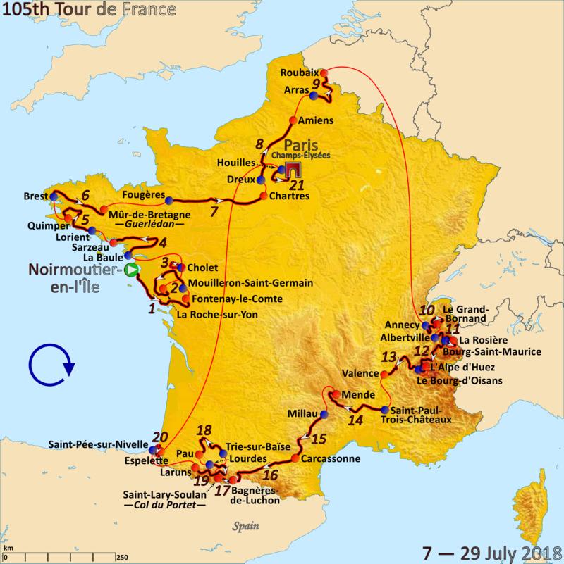 Route of the 2018 Tour de France