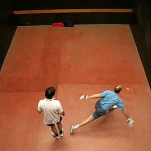 Rugby Fives - Phil Bishop playing singles against Dave Fox