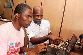 Runcie and Emeka, Participants at the Wikimedia Hub Abuja, April Meetup.jpg