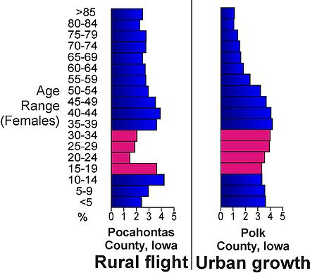 Population age comparison between rural Pocahontas County and urban Polk County, illustrating the flight of young adults (red) to urban centers in Iowa. Rural flight2.jpg
