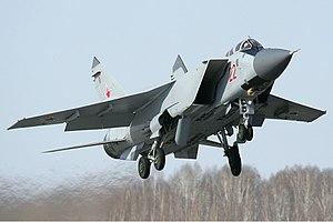 Mikoyan MiG-31 - MiG-31BM taking off from Chelyabinsk Shagol Airport in 2012