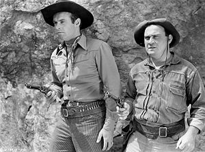 Dub Taylor - Tex Harding (left) and Dub Taylor (right) in 1945 western Rustlers Of The Badlands