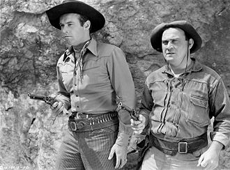 Dub Taylor - Tex Harding (left) and Dub Taylor (right) in the 1945 western Rustlers of the Badlands