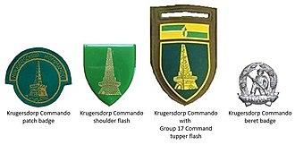 Krugersdorp Commando - SADF era Krugersdorp Commando insignia