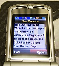 SMS message received on a Motorola RAZR wireless handset.