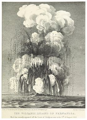 Illustration de Ferdinandea en éruption en 1831.