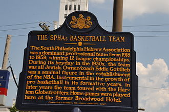 Philadelphia Sphas - Pennsylvania Historical and Museum Commission marker.