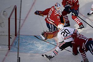 Brandon Saad - Saad drives to the net during the 2015 NHL Winter Classic at Nationals Park.