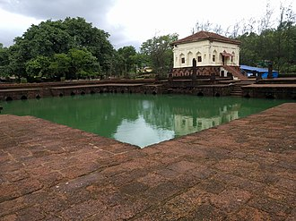 Ponda, Goa - Safa Masjid adjacent to which, on the South, is a masonry tank measuring 30 by 30 meters with Mihrab designs.