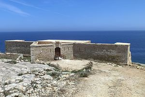 Redan - Saint Anthony's Battery in Qala, Malta, with a redan containing the entrance