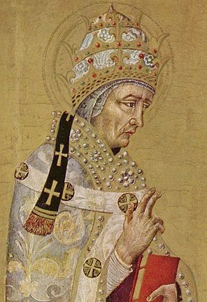 Pope Fabian - Saint Fabian by Giovanni di Paolo (c. 1450) wears an anachronistic Papal tiara