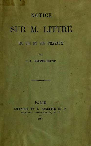 File:Sainte-Beuve - Notice sur M. Littré, 1863.djvu