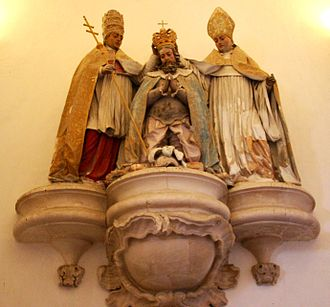 Pope Alexander III - Allegorical sculpture of Pope Alexander III and Saint Bernard of Clairvaux crowning Afonso I King of Portugal, in the Alcobaça Monastery