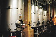 Fermenting tanks with yeast being used to brew beer