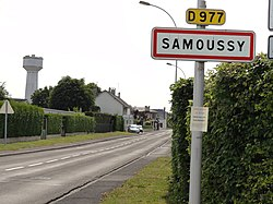 Samoussy (Aisne) city limit sign.JPG