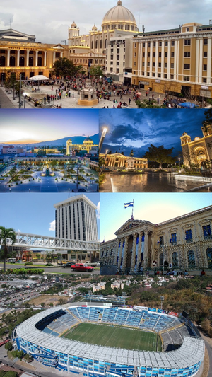 Images, from top, left to right: Plaza Morazán, Plaza Libertad, Plaza Gerardo Barrios, Torre Roble Metrocentro, National Palace (El Salvador),Estadio Cuscatlan