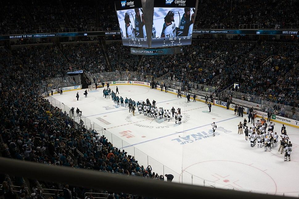 San Jose Sharks and Pittsburgh Penguins shaking hands