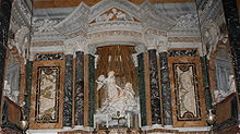 Interior of the Cornaro Chapel, Santa Maria della Vittoria church, Rome including the Cornaro portraits, but omitting the lower parts of the chapel.
