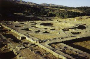 Muyuq Marka - The base of the circular tower of Muyuq Marka still remains