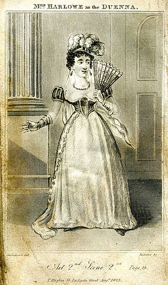 The Duenna - The actress Mrs Harlowe as The Duenna, depicted by George Cruikshank in an engraving published 1823.