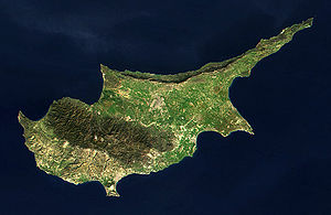 Outline of Cyprus - An enlargeable satellite image of the island of Cyprus