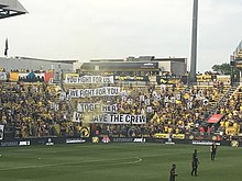 bcd3bd246f5 A Save the Crew tifo before a game against the Chicago Fire in 2018