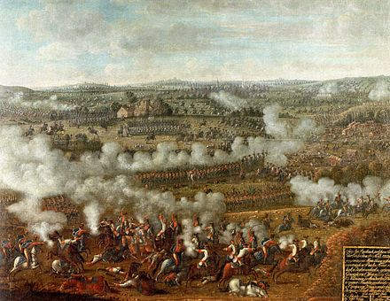 Frederick the Great defeats the French army at the Battle of Rossbach (5 November 1755) Schlacht bei Rossbach.jpg