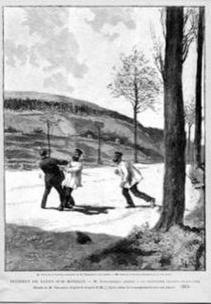 Guillaume Schnaebelé - Illustration: Schnaebelé being grabbed at the border by two German secret policemen in disguise.
