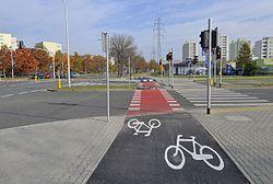 Scieżka rowerowa ul. Ciszewskiego w Warszawie przy Dereniowej