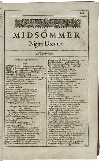 The first page printed in the Second Folio of 1632 Second Folio Printing of A Midsummer Night's Dream.jpg