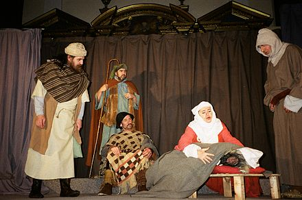 A moment from The Second Shepherds' Play in the Wakefield Mystery Plays as performed by The Players of St Peter in London in 2005.